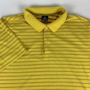 Vintage-Nike-Air-Jordan-Jumpman-Yellow-Striped-Polo-Golf-Rugby-Shirt-Mens-XL-EUC