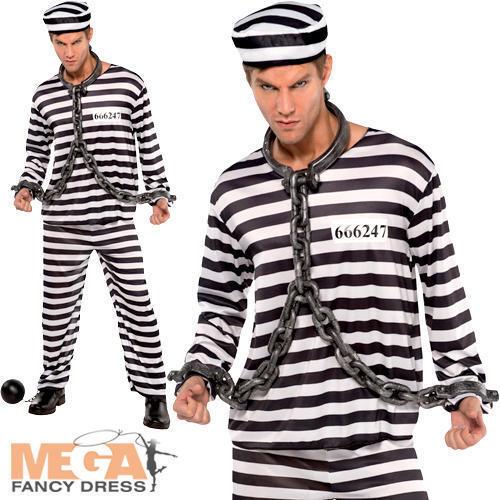 Récidiviste Prisonnier Déguisement Prisonnier uniforme Flics /& Voleurs Adultes Costume