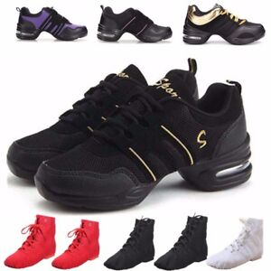 WOMENS-JAZZ-HIP-HOP-DANCE-SNEAKERS-SHOES-LADIES-SPLIT-SOLE-SPORT-TRAINERS-UK-4-7