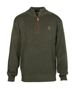 Percussion-Embroidered-Man-and-Dog-motif-hunting-jumper-with-zip-neck