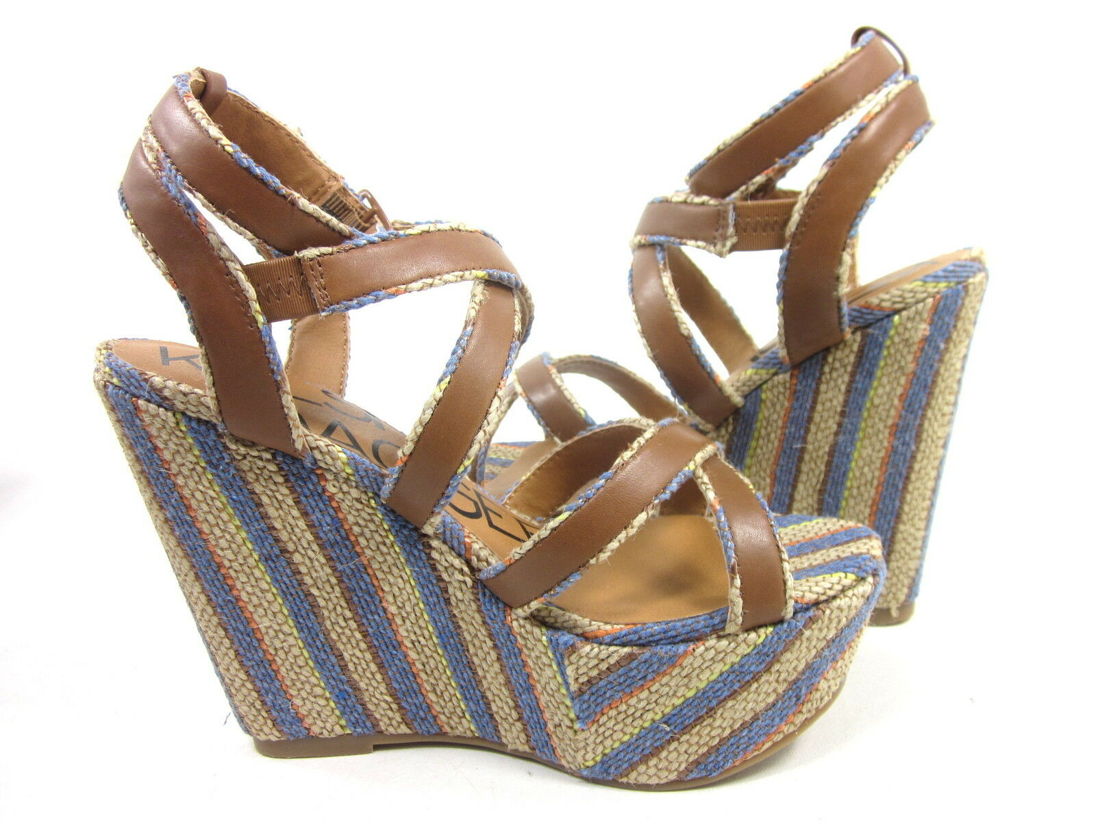 KELSI DAGGER, PAXTON WEDGE SANDAL, COBALT, Damenschuhe, US 8 IN M, EURO 38, NEW IN 8 BOX abcec0