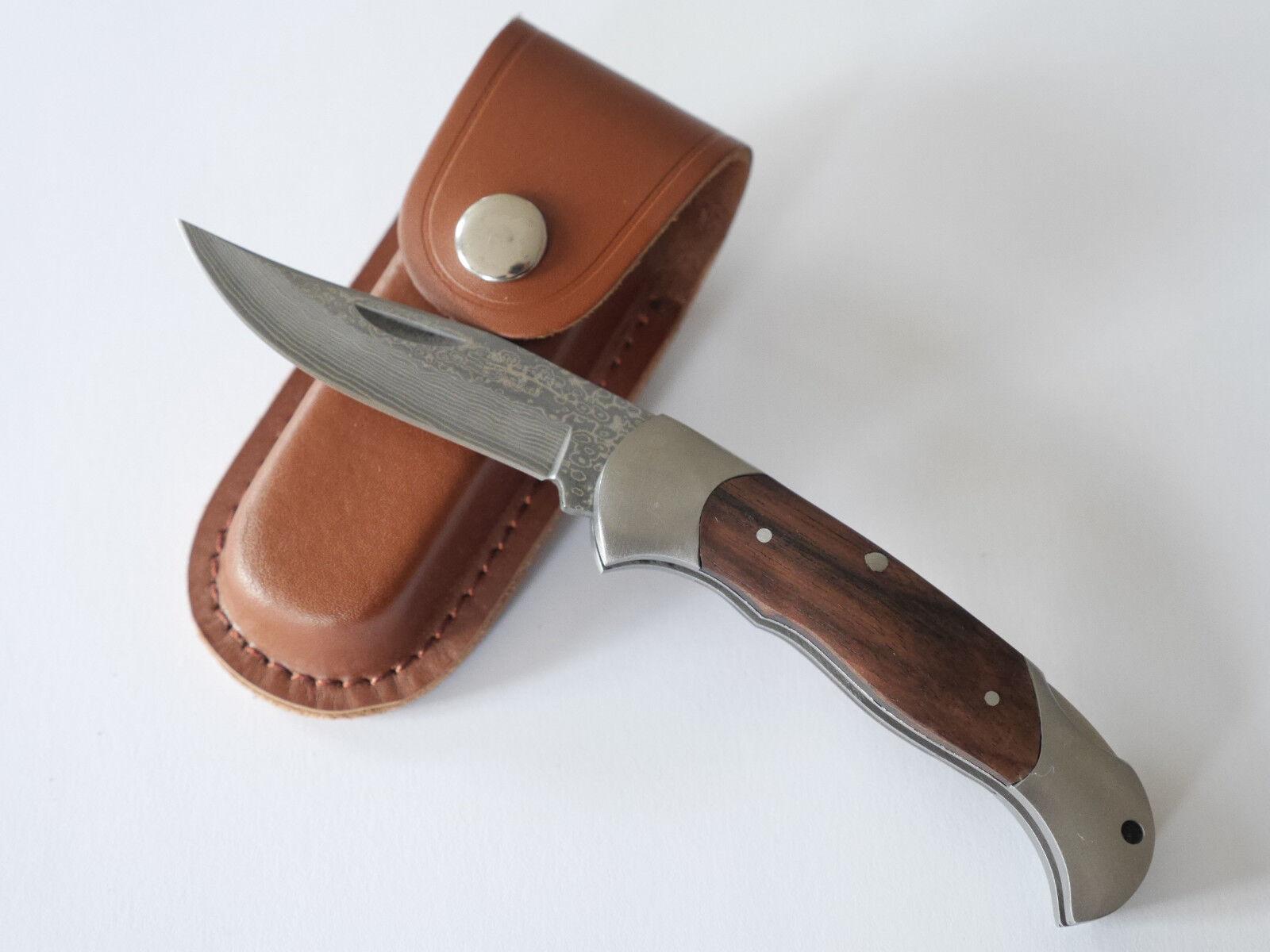 Damast Taschenmesser - Jagdmesser mit Sandelholz - Griff - Top und Neu