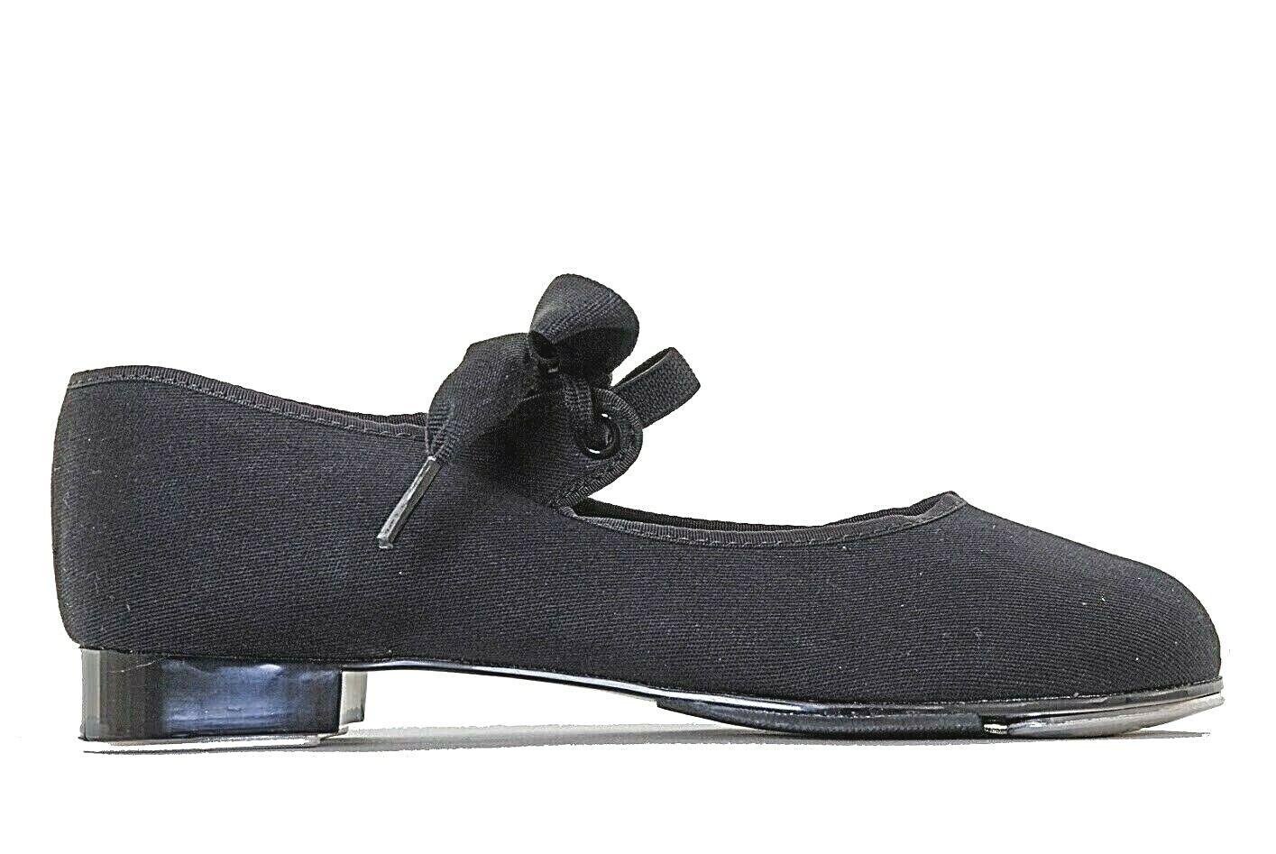 Capezio 825 Black Canvas Girls Low Heel Tap Shoes