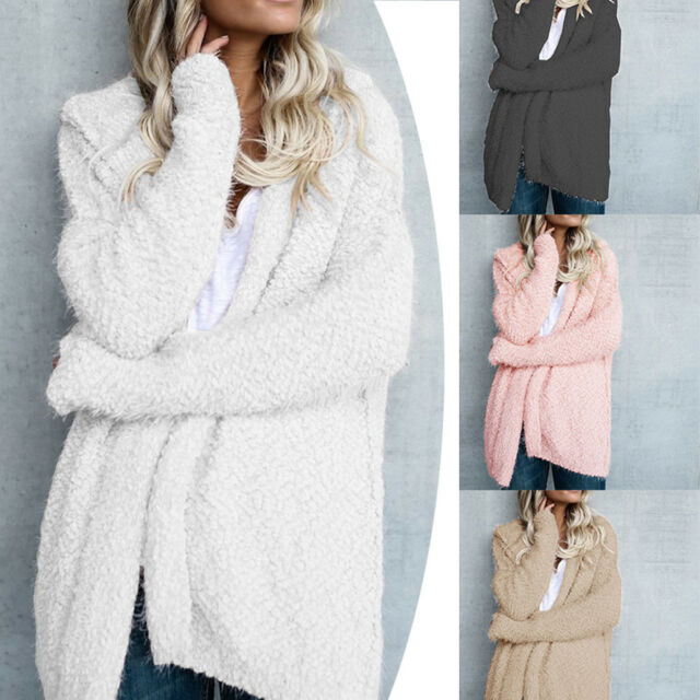 Women Long Sleeve Knitted Fluffy Coat Cardigan Sweater Casual Outwear Jacket