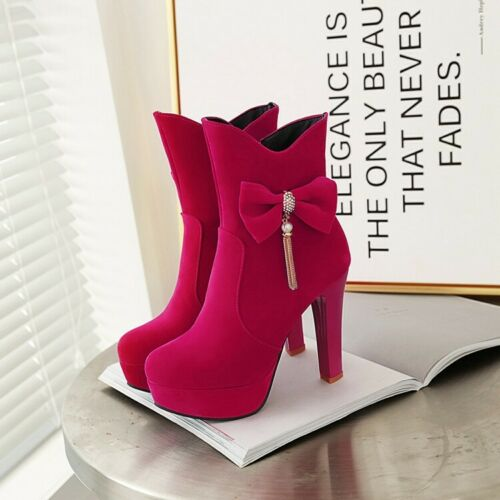 Details about  /Womens Fashion Faux Suede Round Toe Bowknot Tassel Ankle Boots Pumps High Heels