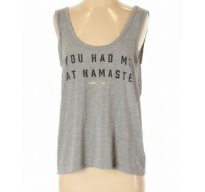 Women/'s SPIRITUAL GANGSTER NAMASTE om t  racer back TANK TOP new gray tee new