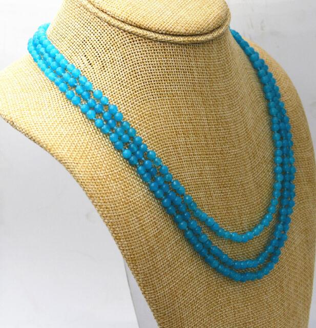 "HOT!3 rows 4mm light blue Brazil Aquamarine gemstone bead necklace 17-19 ""Jewelr"