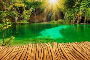 Forest-Tropical-Waterfall-Trees-Nature-Wall-Art-Large-Poster-amp-Canvas-Pictures