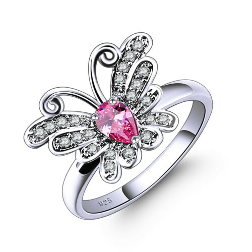 Butterfly Fashion Jewelry Rose Blanc Topaz GEMME ARGENT RING TAILLE 6-13 Grande