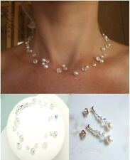DESIGNER CRYSTAL & PEARL ILLUSION BRIDAL JEWELRY SET HANDMADE SWAROVSKI ELEMENTS