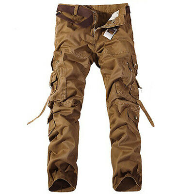 Hot Men's Casual Military Army Cargo Combat Work Pants Zipper Camo Trousers