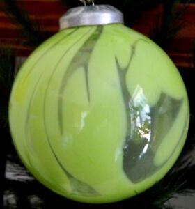 Details About Heavy 4 Lime Swirled Kugel Ball Mouth Blown Art Glass Christmas Ornament Poland