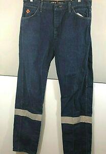 Wrangler-FR-Mens-Denim-Jeans-High-Visibility-Reflective-Strips-36W-34L