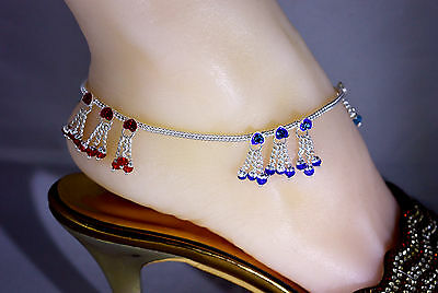CPP18B 1 Pair Bollywood Designer CZ Silver Tone Indian Anklets Payal