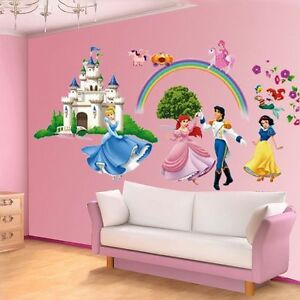 Removable 3d princess castle wall sticker art home decor for Castle mural kids room
