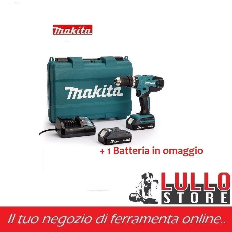 MAKITA TRAPANO AVVITATORE A BATTERIA LITIO CON PERCUSSIONE 18 V 1,5AH HP457DWE