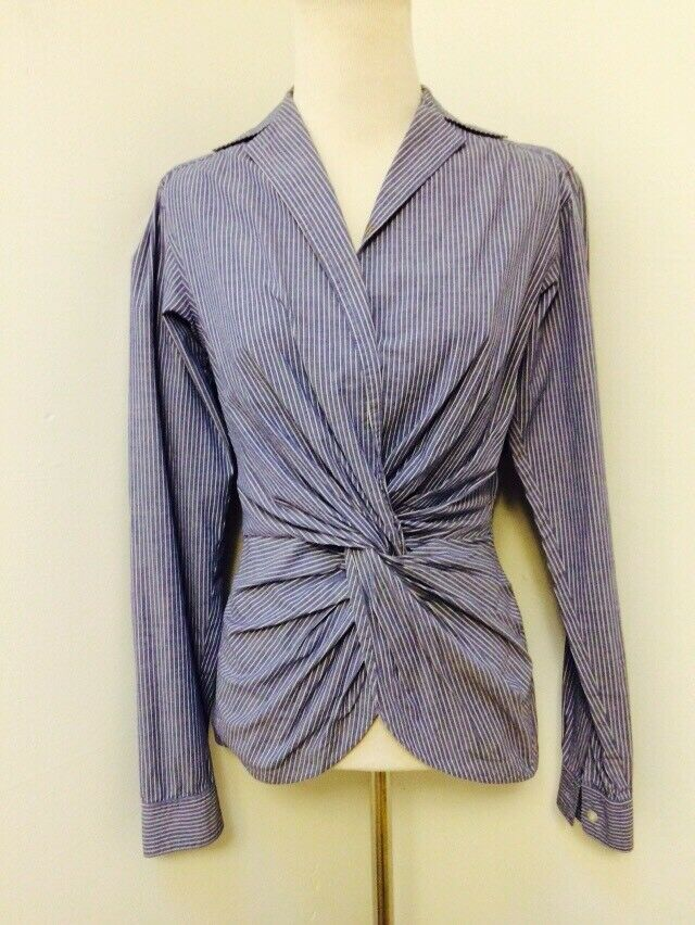 Byron Lars Beauty Mark Cotton Stretch Knotted Blouse Long Sleeve Blau Stripe 4