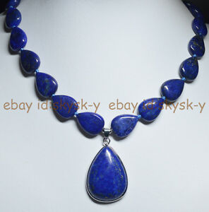 Natural-Blue-Lapis-Lazuli-Gemstone-Teardrop-Beads-Pendant-Necklace-18-034-AA