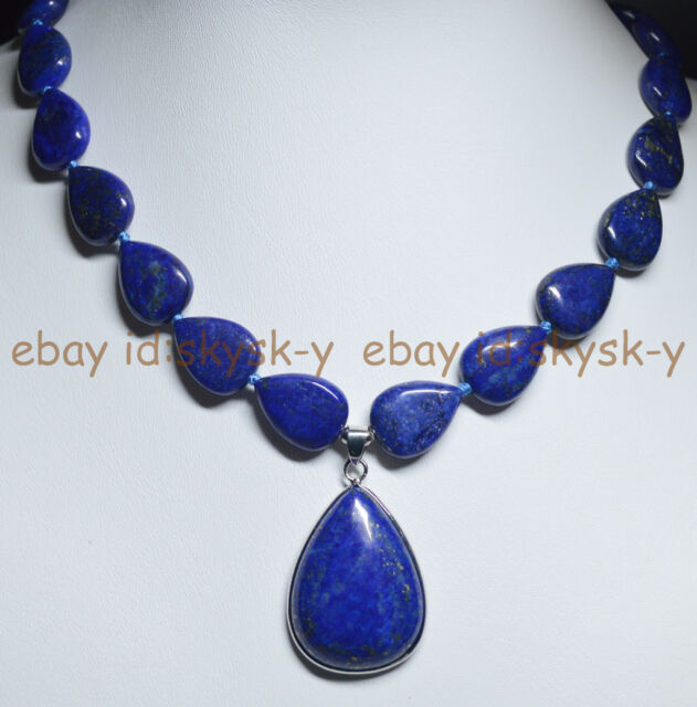 "Natural Blue Lapis Lazuli Gemstone Teardrop Beads Pendant Necklace 18"" AA"