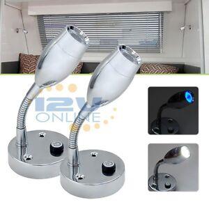 2x 12V LED Flexible Bedside Book Reading Lights Bedroom RV Caravan ...