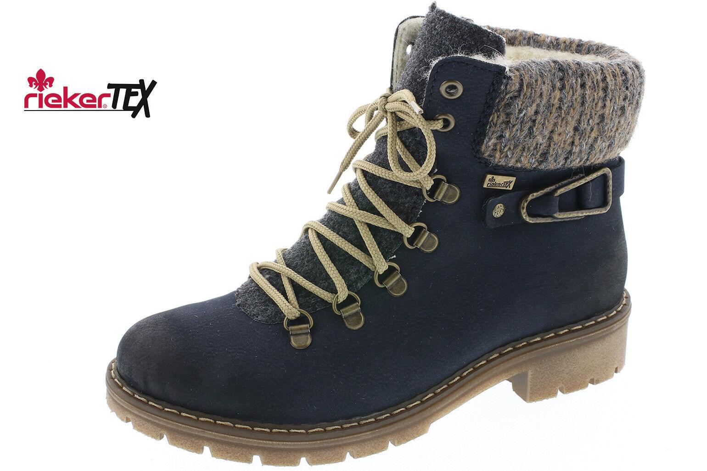 Rieker Damen Stiefel Stiefeletten Schnürstiefel NEU Boots blau Y9131 NEU Schnürstiefel bacd5d