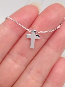 Sterling Silver 925 Small Tiny Cz Cross Pendant Necklace Womens 9mm