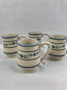 Princess-House-1984-Set-of-4-Cups-Mugs-Blue-Stripes-amp-Flowers