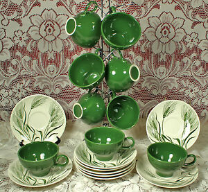 1955-Homer-Laughlin-WHEAT-AMERICANA-CUP-amp-SAUCER-Set-ONLY-3-Lots-Left-EX-Cond