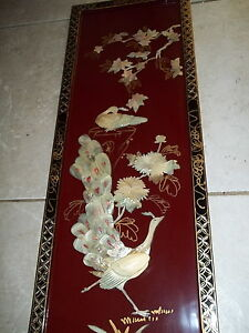 vtg asian chinese mother of pearl peacock lacquer wall art. Black Bedroom Furniture Sets. Home Design Ideas
