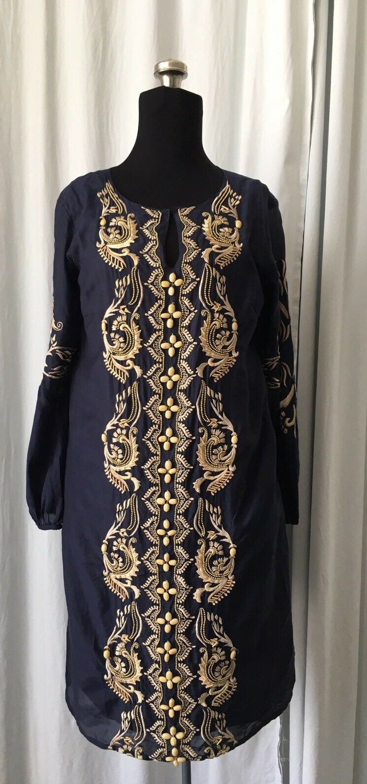 KAS New York navy beaded embroidered tunic dress XS NWT Boho