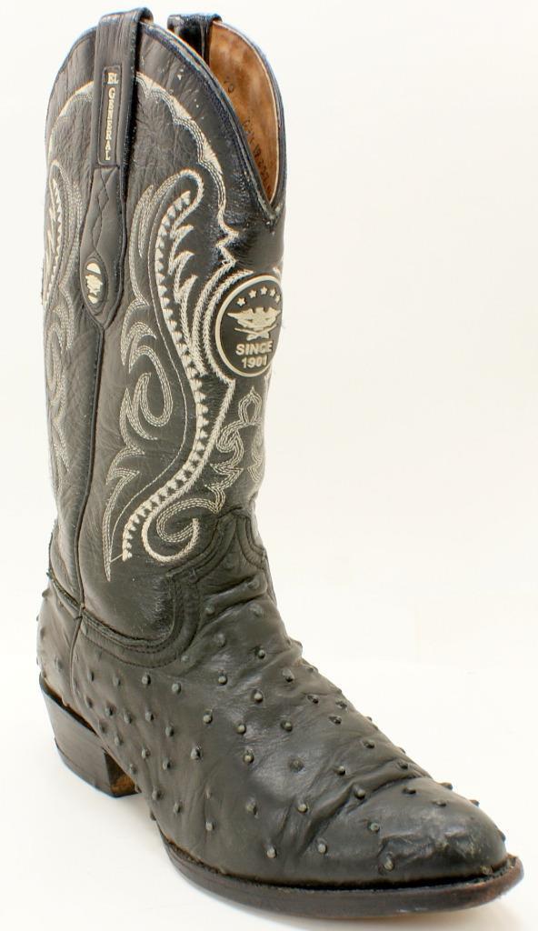 Vtg EL GENERALTall Black Leather & Ostrich Fancy Western Cowboy Men's Boots 7M