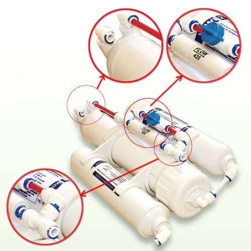3-stufiger Umkehrosmose Wasserfilter Osmose 100 GPD für Aquarium mit Spülventil