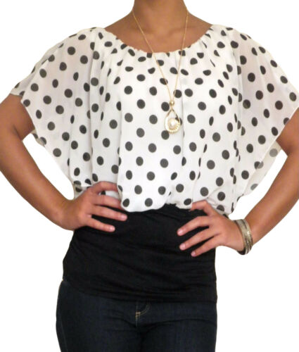 Ladies Spotted Top Chiffon Necklace Size 8 10 12