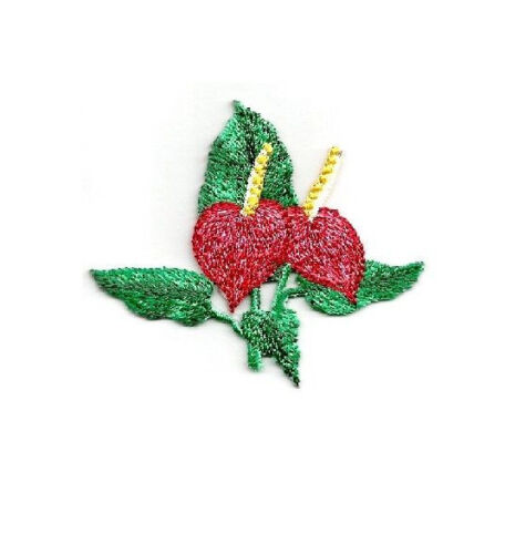 Anthurium Tropical Flower Embroidered Iron On Applique Patch