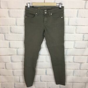 LC-Lauren-Conrad-Women-s-Gray-Olive-Green-Stretch-Skinny-Slim-Jeans-Size-2