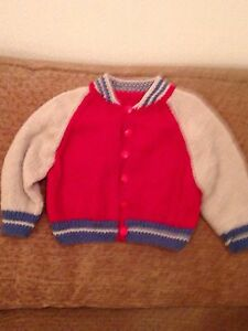 New-hand-knitted-boys-red-and-beige-baseball-jacket-size-18-24-months