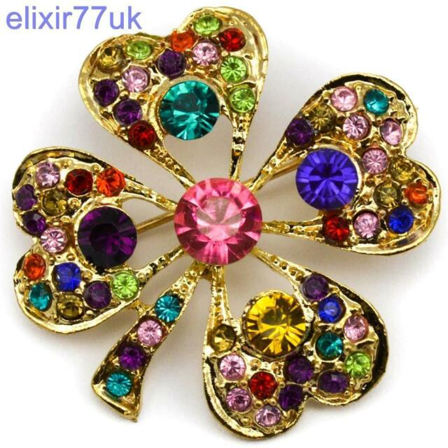 STUNNING SPARKLY GOLD LEAF LUCKY CLOVER BROOCH DIAMANTE CRYSTAL FLOWER BROACH UK