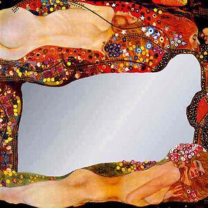 Espejo-Cuadro-Serpientes-agua-Klimt-con-Textura-oleo-Listo-para-Colgar