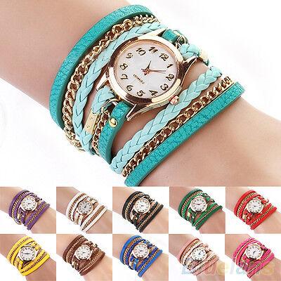 Women's Useful Handy Vintage Weave Wrap Rivet Faux Leather Band Wrist Watch
