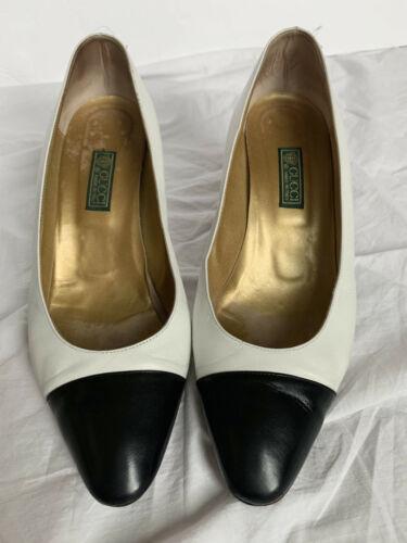 Vintage 80s GUCCI black toe white SPECTATOR heels