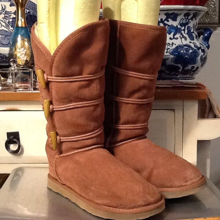 Women's 8 UKALA TAJ HighToggle Merino Wool Winter Snow Boots Brown Suede 80014