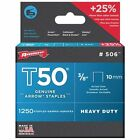 Arrow Fastener 506 Genuine T50 3/8-Inch Staples, 1250-Pack New