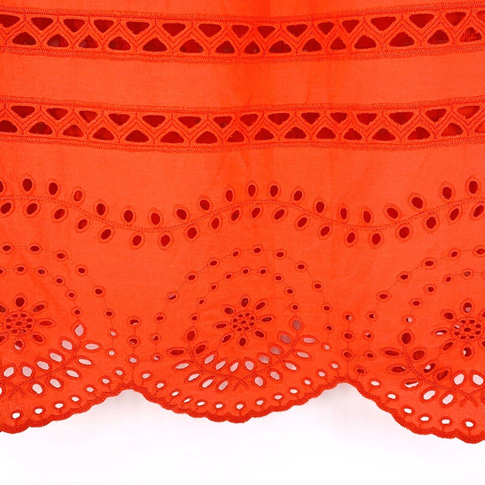 Madewell Orange Cotton Eyelet Angelica Top Size S… - image 6