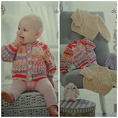 KNITTING PATTERN Baby Lacy Sleeve Cardigans /& Jumpers Pockets King Cole DK 4911