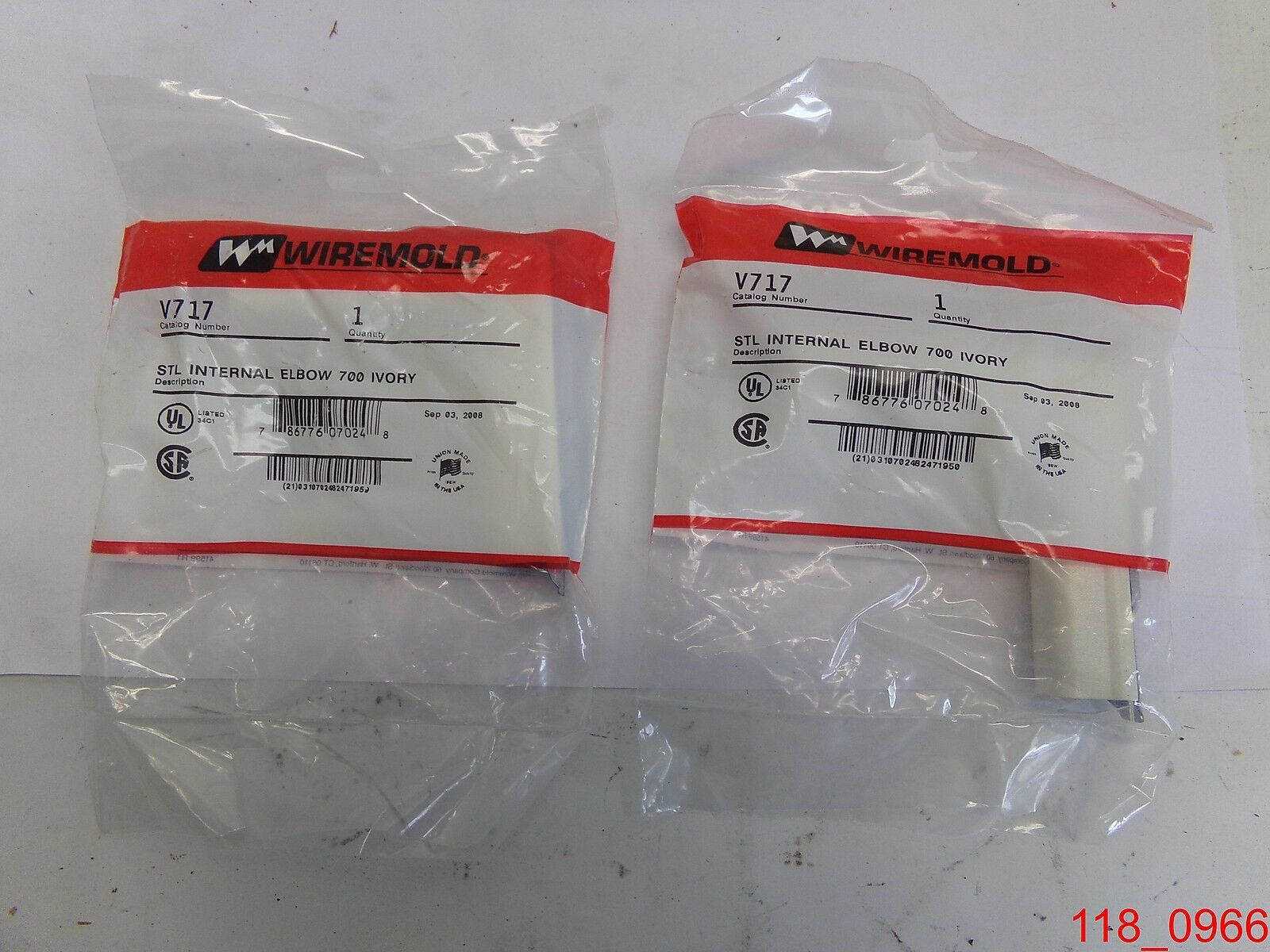 Qty=2, Wiremold V717 , steel internal elbow 700 series ivory ...