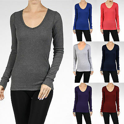 THERMAL V-NECK Long Sleeve Basic Top Womens Waffle T-Shirt Solid Plain