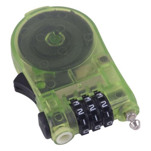 Portable Retractable Bicycle Combination Cable Code Lock 3 Digits Password Locks