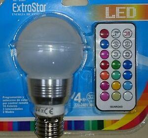 Lampada Led Con Telecomando.Lampada Lampadina Led Bulbo Sfera E27 4w Rgb Multicolore Con
