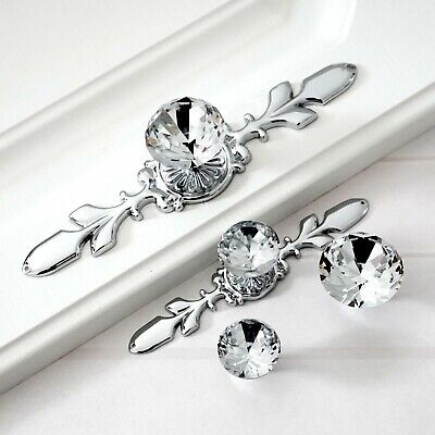 Silver Glass Diamond Crystal Dresser Knobs Wardrobe Drawer Pulls Handle Cabinet