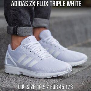 adidas ZX Flux Triple White Men's Sneakers UK 10.5 / EU 45 1/3